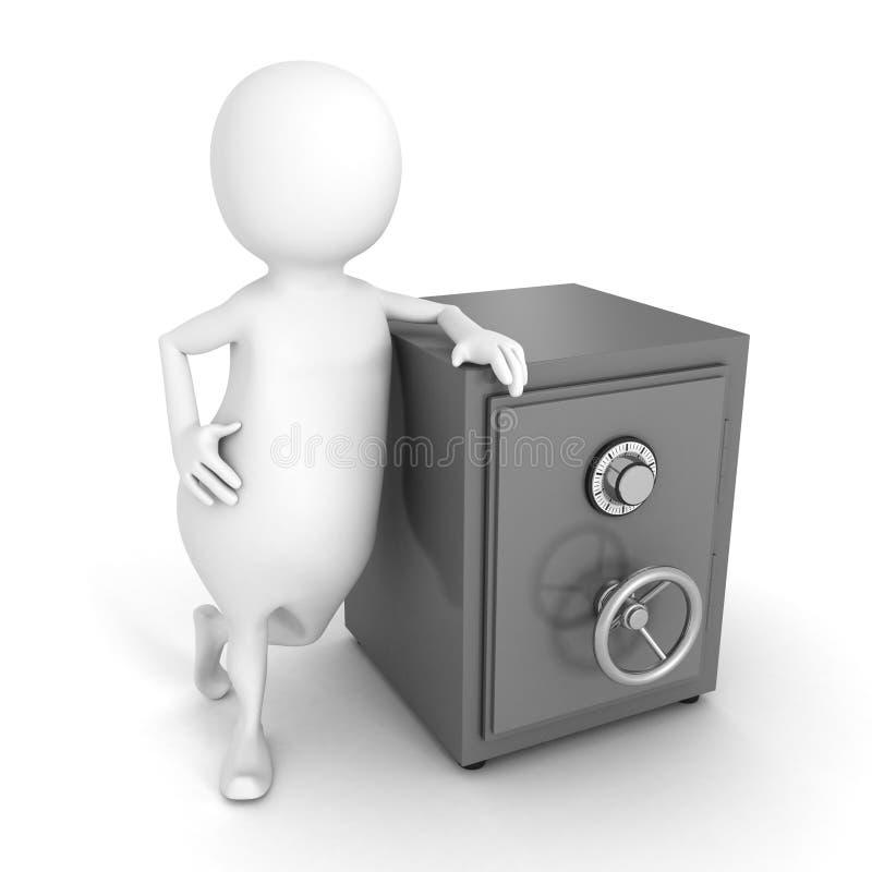 3d白色商人和铁金钱开户保险柜 向量例证
