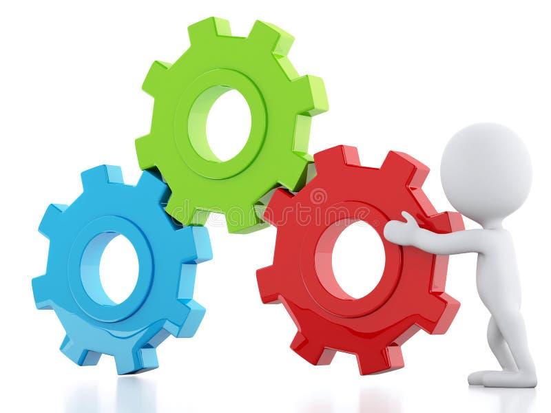 3d白色商人和齿轮机构 库存例证