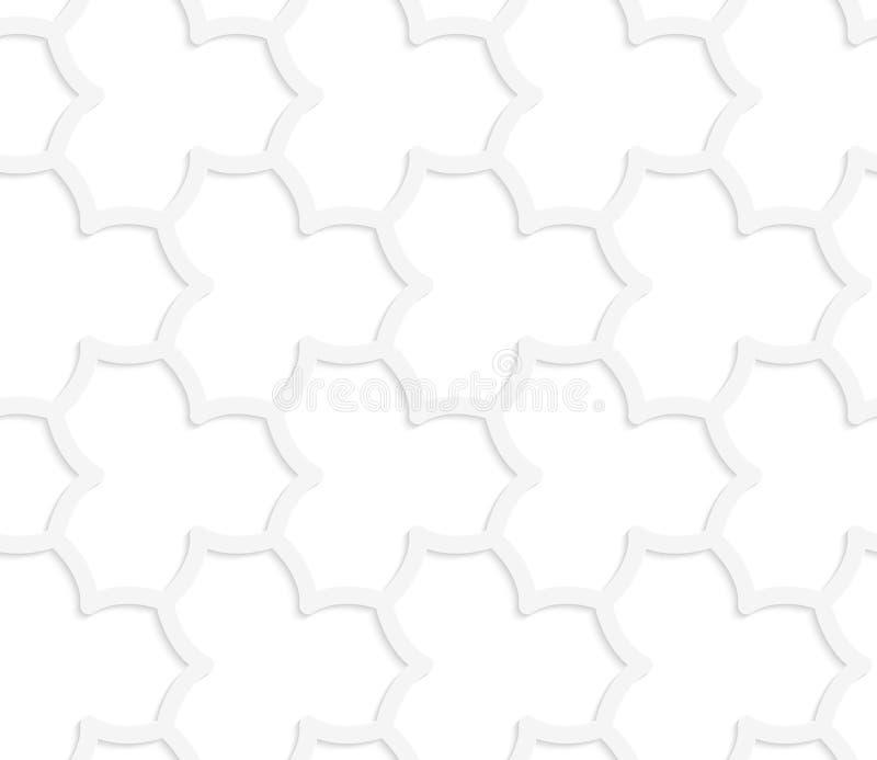 3D白色抽象几何尖的花栅格 向量例证