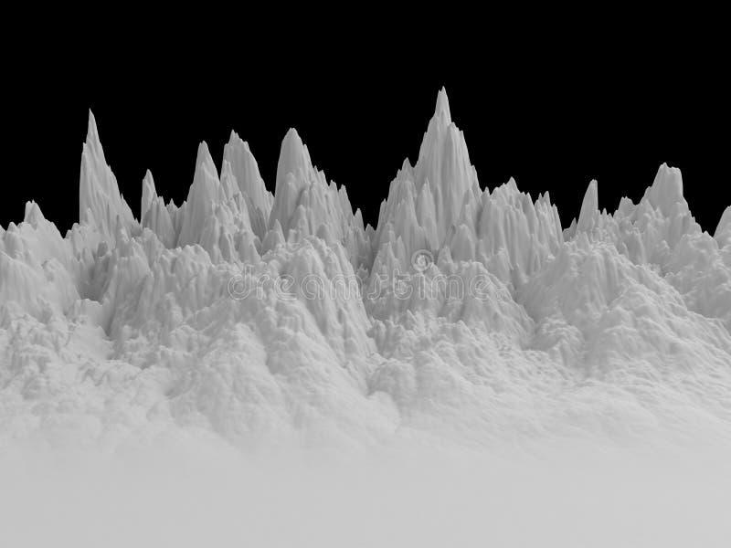3d白色抽象山风景背景 库存例证