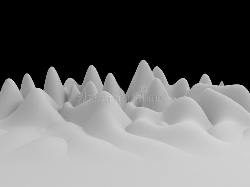 3d白色抽象波浪风景背景 向量例证