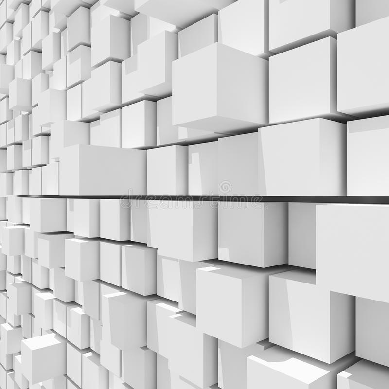 3d白色立方体任意平实背景翻译  库存例证