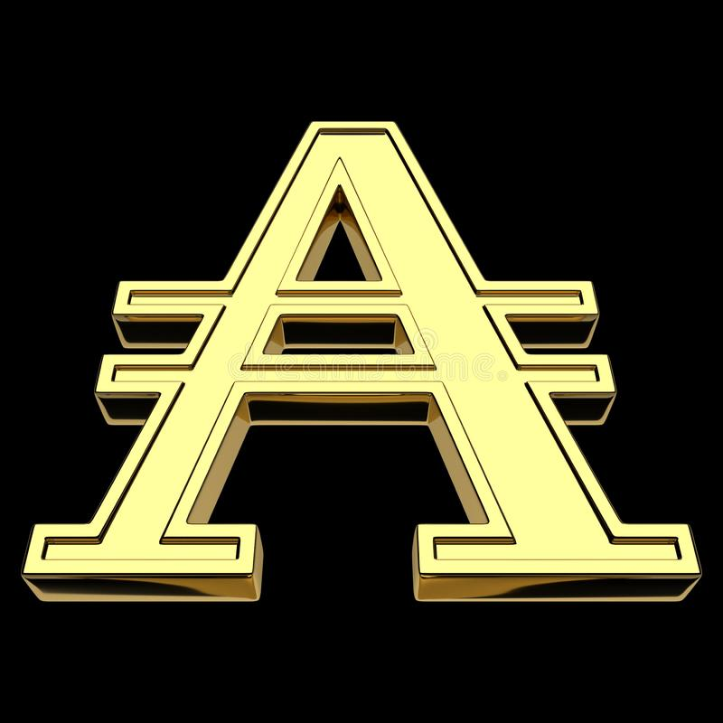 3D的阿根廷的货币符号的翻译南方,金子,隔绝在黑背景 皇族释放例证