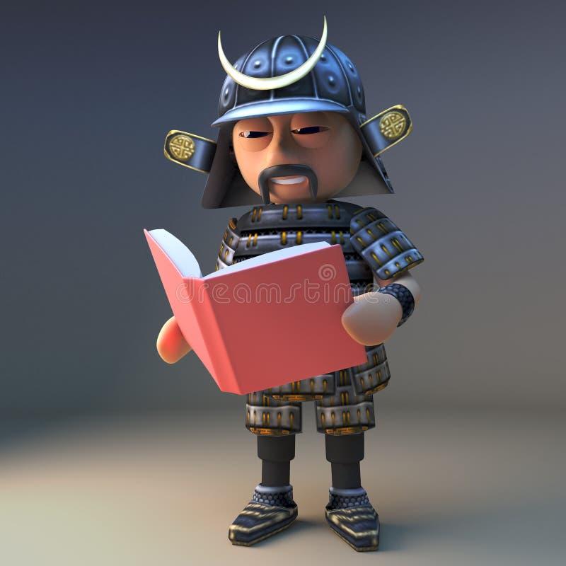 3d的高尚的日本武士战士读书,3d的例证 库存例证