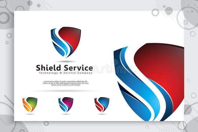3d盾技术传染媒介与现代概念,网络安全的抽象例证标志的商标设计数字模板的 向量例证
