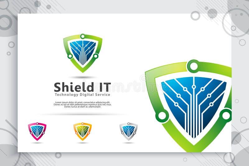 3d盾技术传染媒介与现代概念,网络安全的抽象例证标志的商标设计数字模板的 库存例证