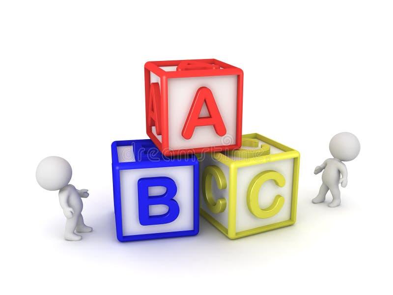 3D看与信件的立方体的字符 库存例证