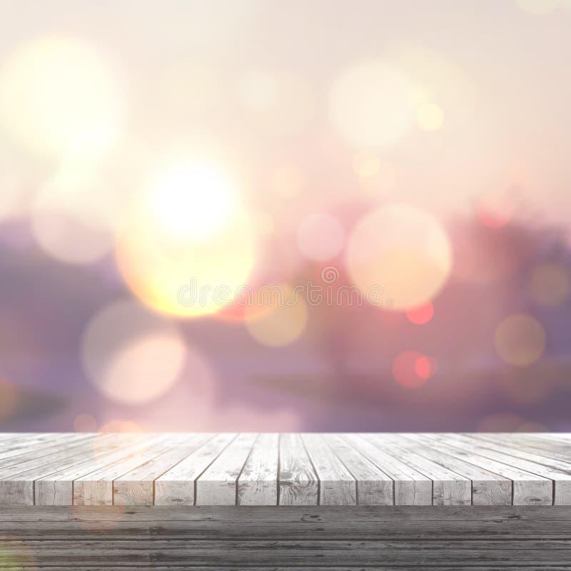 3D看对一个defocussed晴朗的大局的白色木桌 皇族释放例证