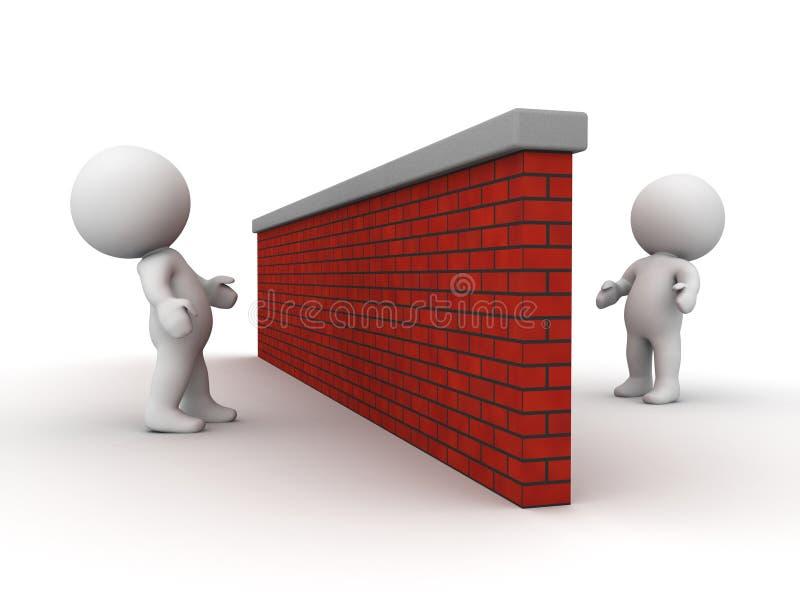 3D看彼此的人从砖墙的反面 免版税库存图片