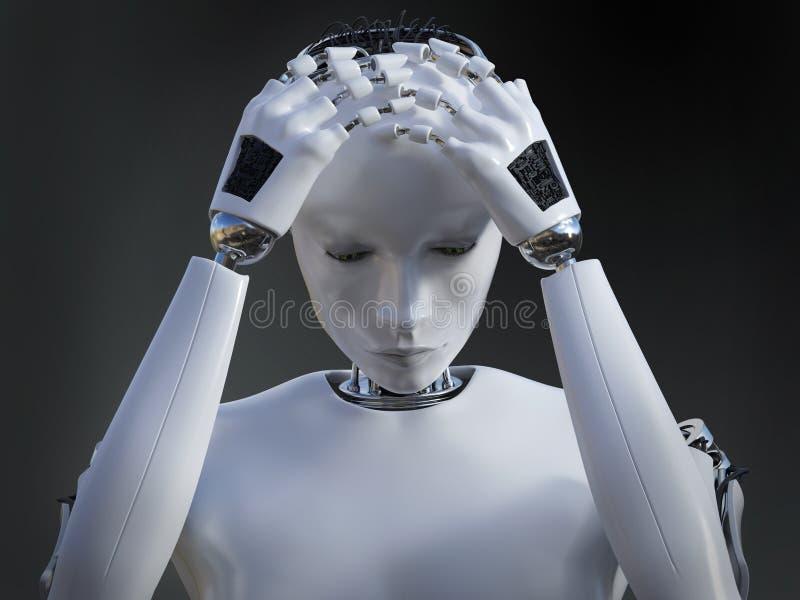 3D看起来女性机器人的翻译哀伤 皇族释放例证