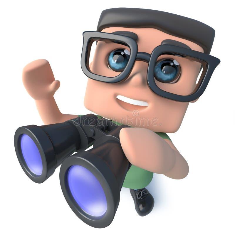 3d看通过双筒望远镜的滑稽的动画片怪杰书呆子黑客字符 向量例证