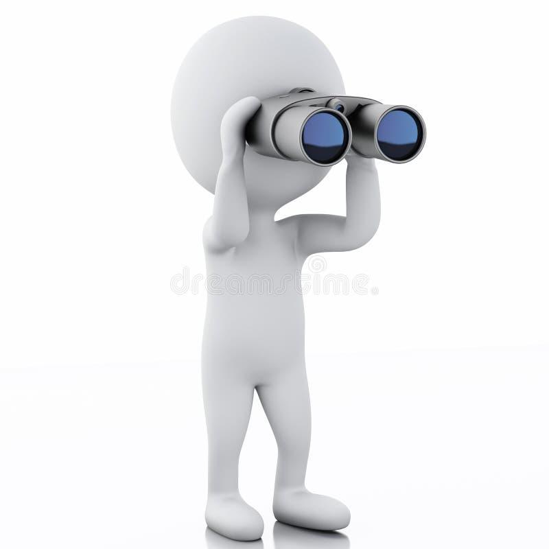 3d看通过双筒望远镜的白人 向量例证