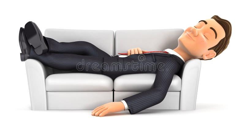 3d睡觉在沙发的商人 皇族释放例证