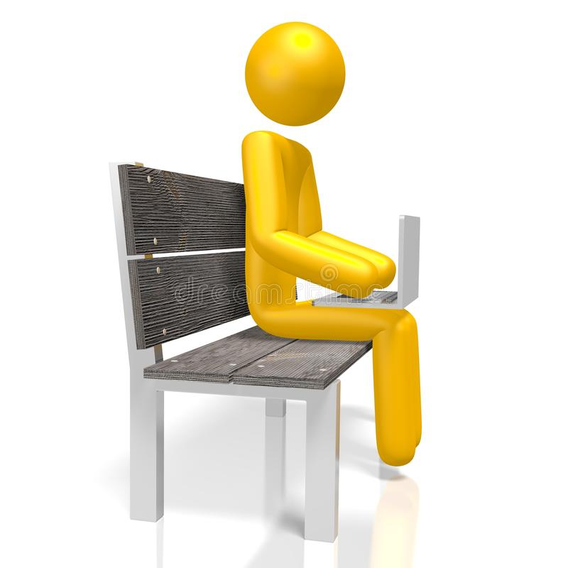3D研究膝上型计算机的人的字符 库存例证