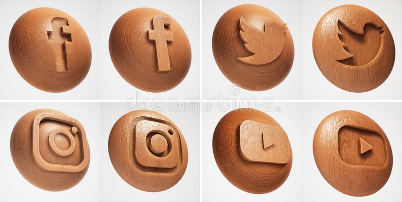 3D社会媒介木头纹理象 皇族释放例证