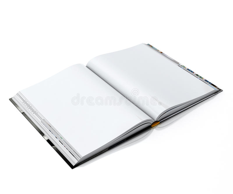 3d空白的白色打开了在白色背景隔绝的书 皇族释放例证