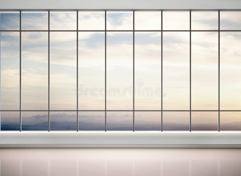 3d空的办公室的例证与 库存例证