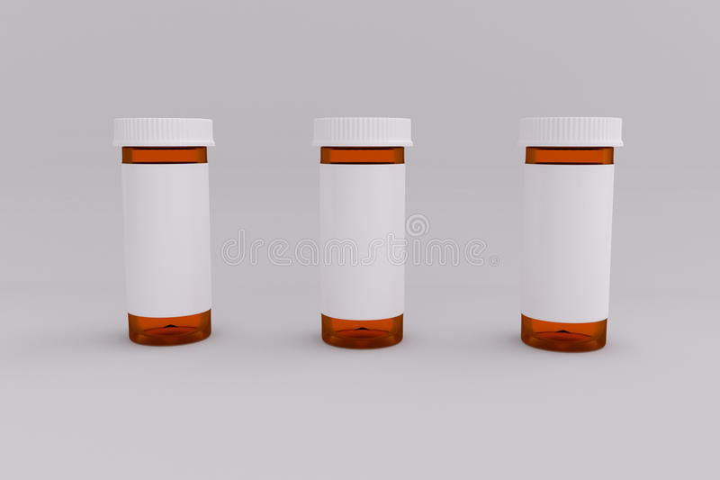 3D空的被标记的医疗药瓶翻译  皇族释放例证