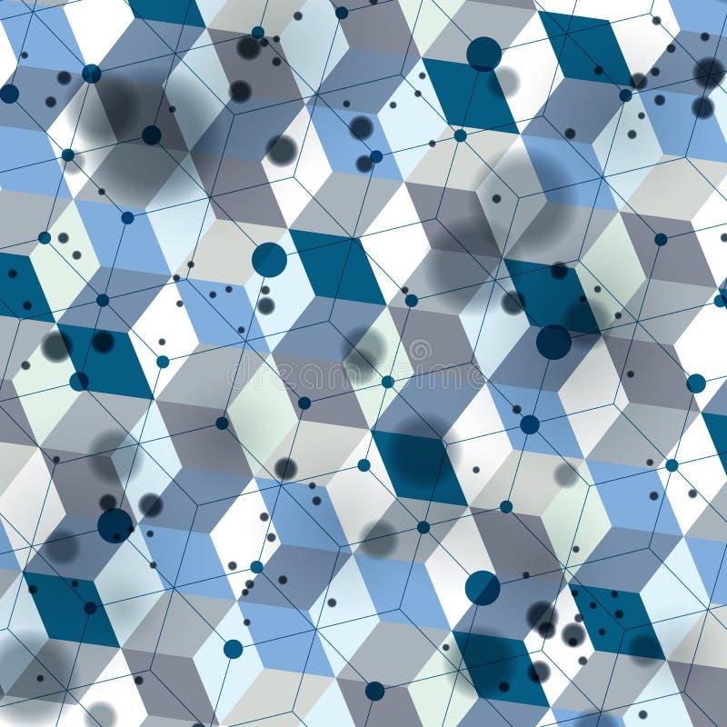 3d空间格子覆盖物,复杂的欧普艺术背景与 向量例证