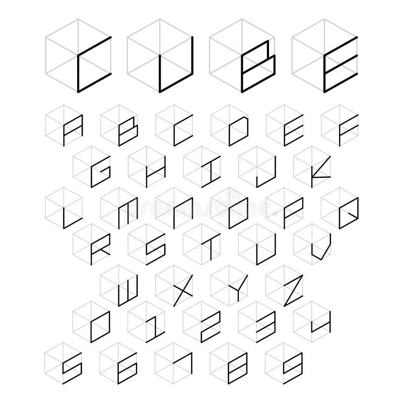 3d立方体字母表和数字 向量例证