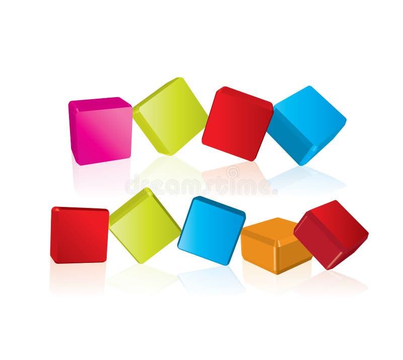 3d立方体按钮 皇族释放例证