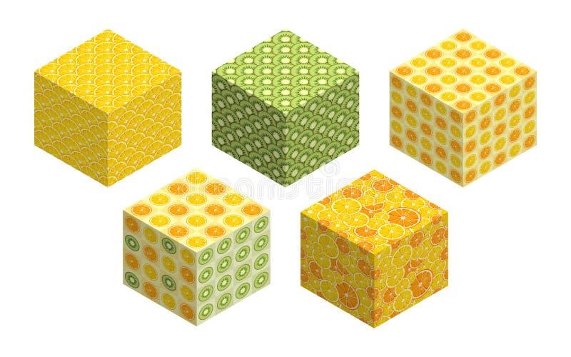 3D立方体有在每边的果子背景 向量例证