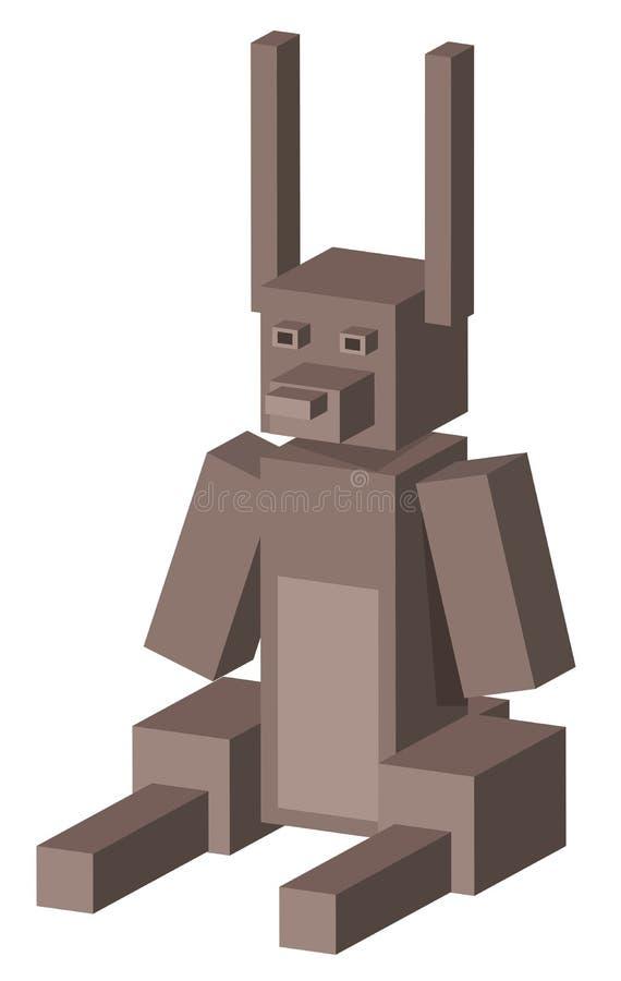 3d立方体熊卡通人物 向量例证