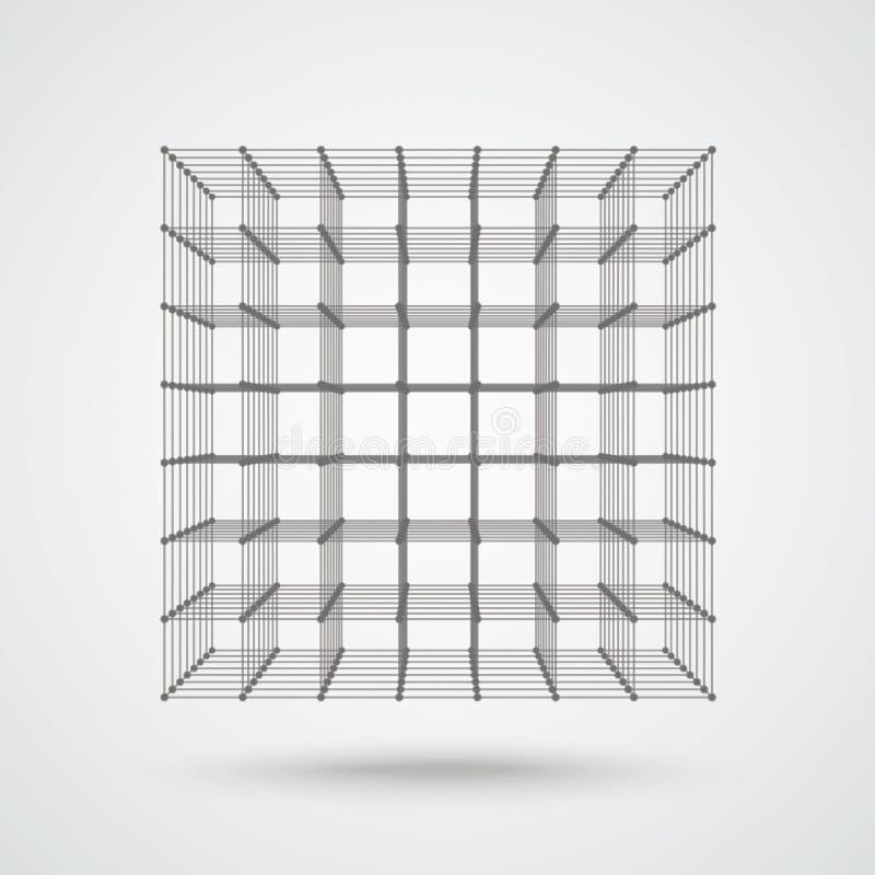 3d立方体被连接的小点 向量例证