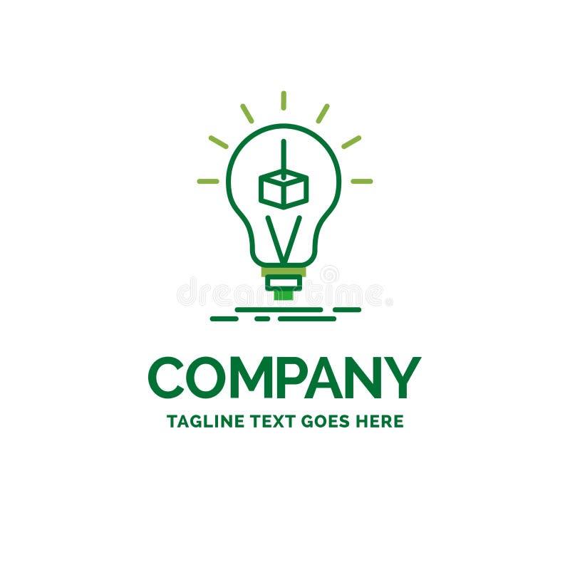 3d立方体,想法,电灯泡,打印,箱子平的企业商标模板 库存例证