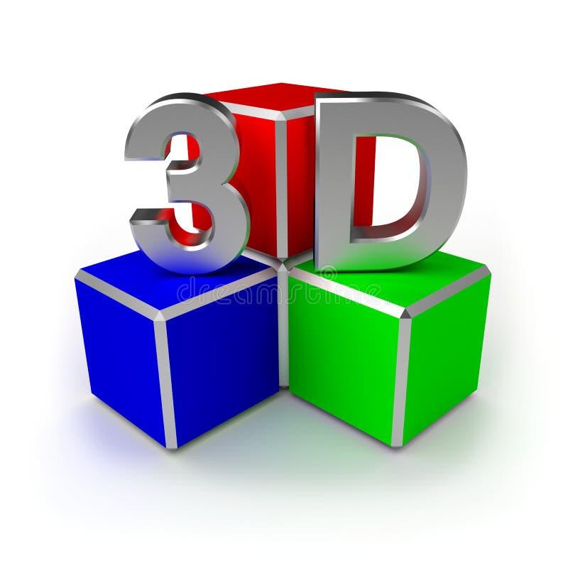 3d立方体 向量例证