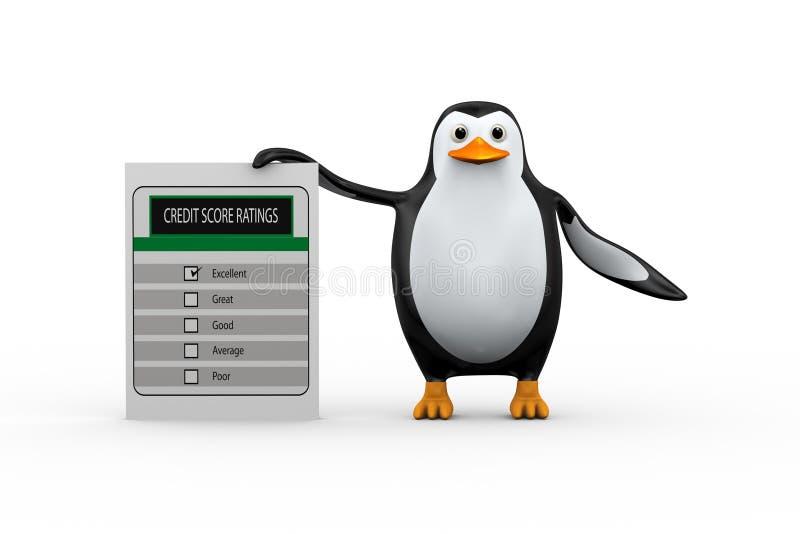 3d站立与信用评分规定值的企鹅 皇族释放例证