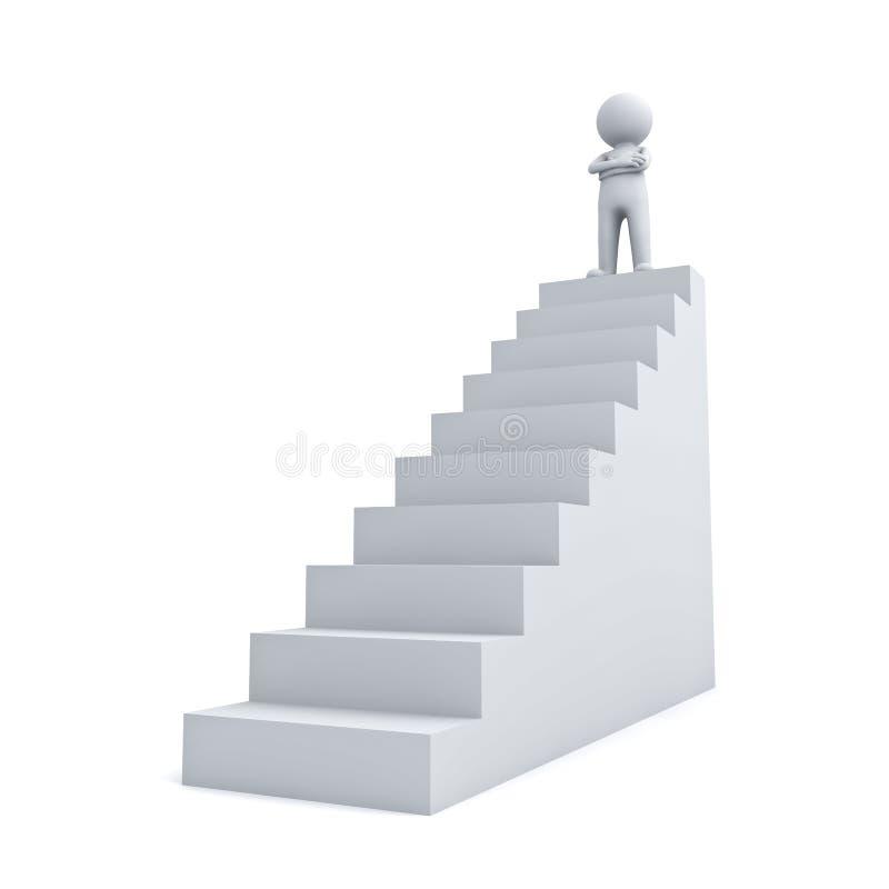 3d站立与胳膊的人横渡了在台阶顶部 皇族释放例证