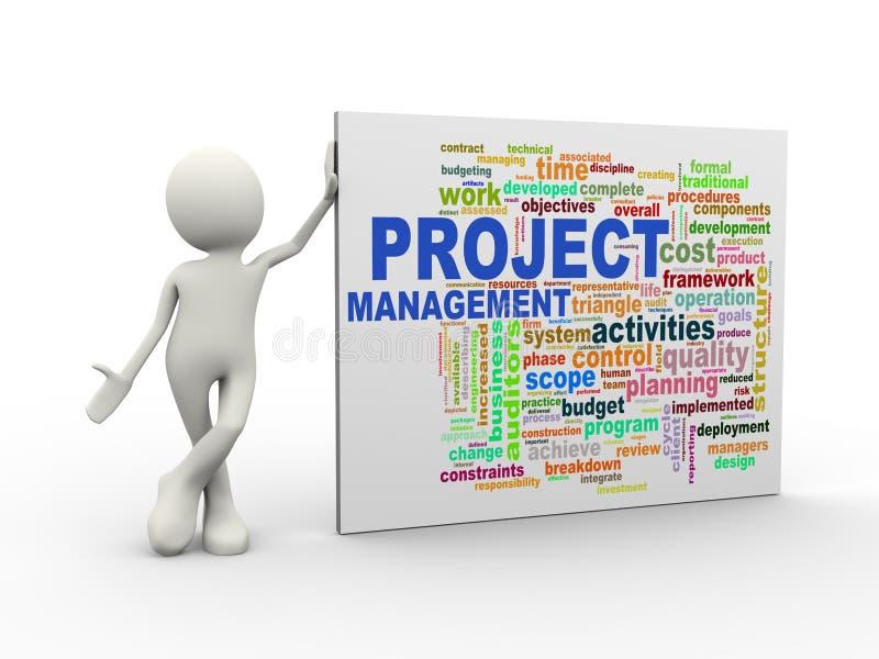 3d站立与项目管理wordcloud词的人标记 库存例证