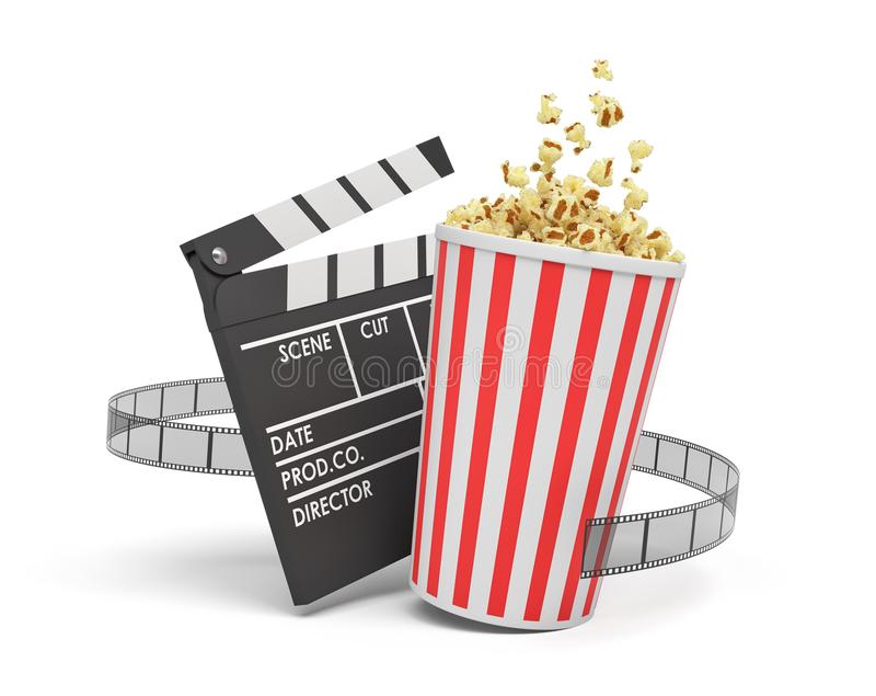 3d站立在一空的clapperboard和影片小条附近的一个充分的玉米花桶的翻译在白色背景 库存例证