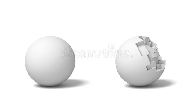 3d站立在彼此,一个整体和另一半残破附近的两个被隔绝的白色圆球翻译  向量例证