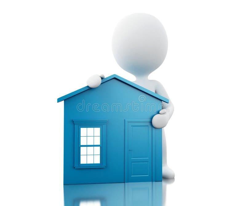 3d站立在新房旁边的白人 库存例证