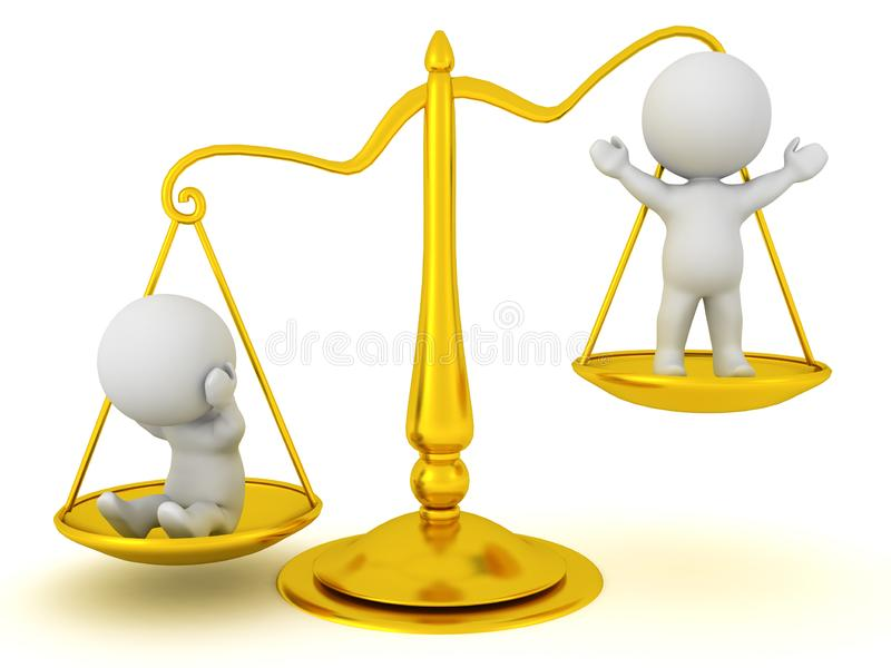 3D站立在正义等级的字符  向量例证