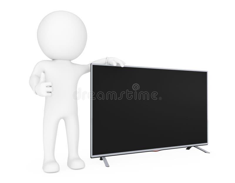 3d站立在现代平的被带领的或Lcd电视旁边的小人物 3D r 皇族释放例证