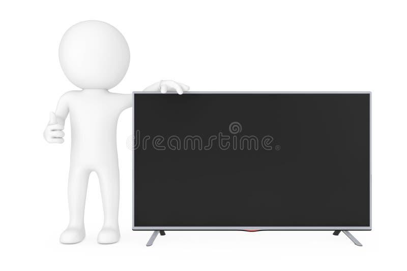 3d站立在现代平的被带领的或Lcd电视旁边的小人物 3D r 库存例证