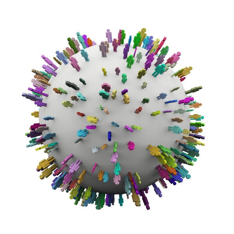 3d站立在球形的五颜六色的另外人民 皇族释放例证