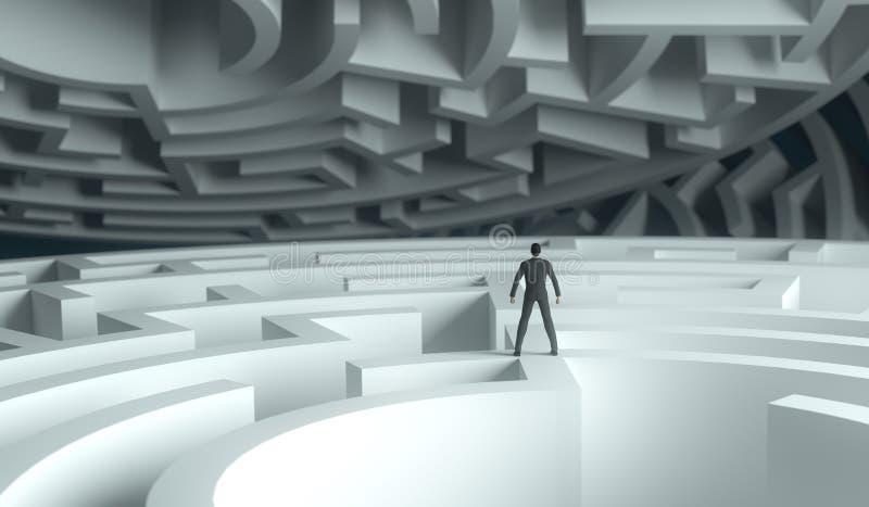 3d站立在迷宫的翻译商人 皇族释放例证