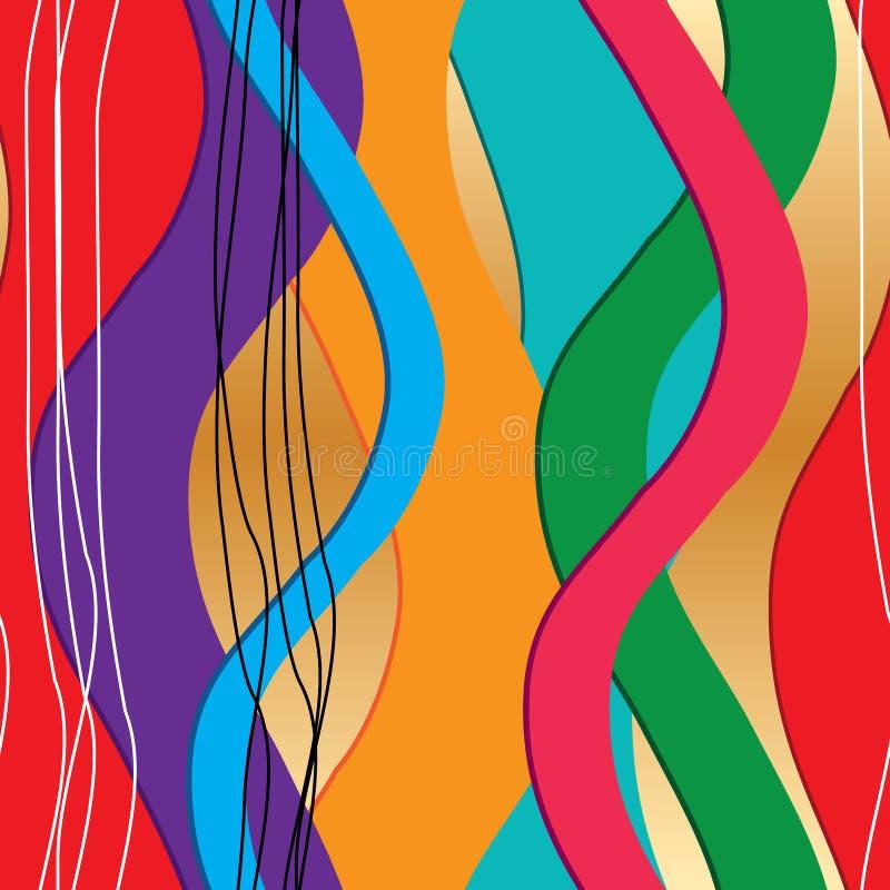 3d第2波浪五颜六色的垂直的无缝的样式 向量例证