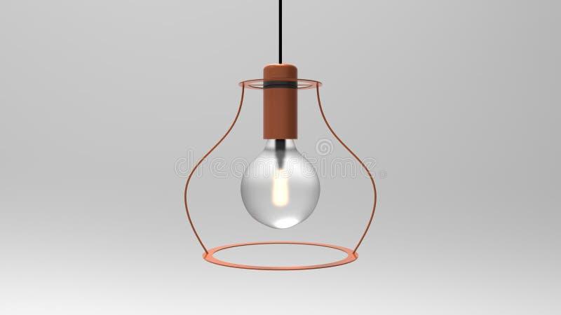 3D笼子导线爱迪生灯的例证 向量例证