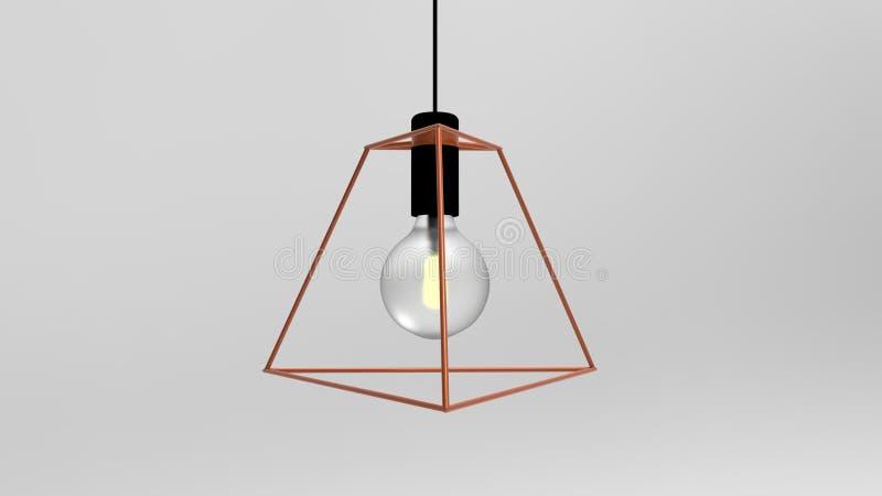 3D笼子导线爱迪生灯的例证 库存例证