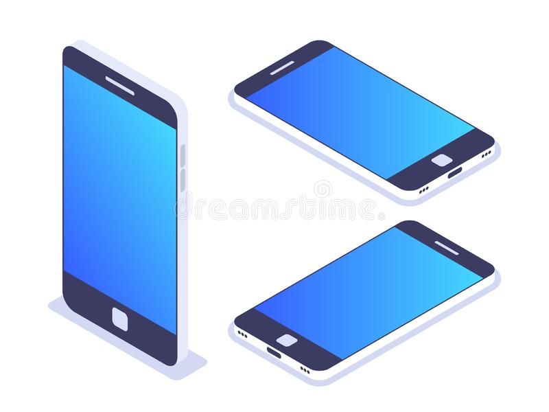 3d等量手机 左,正确和顶视图 智能手机为在给横幅或网站做广告的使用 皇族释放例证