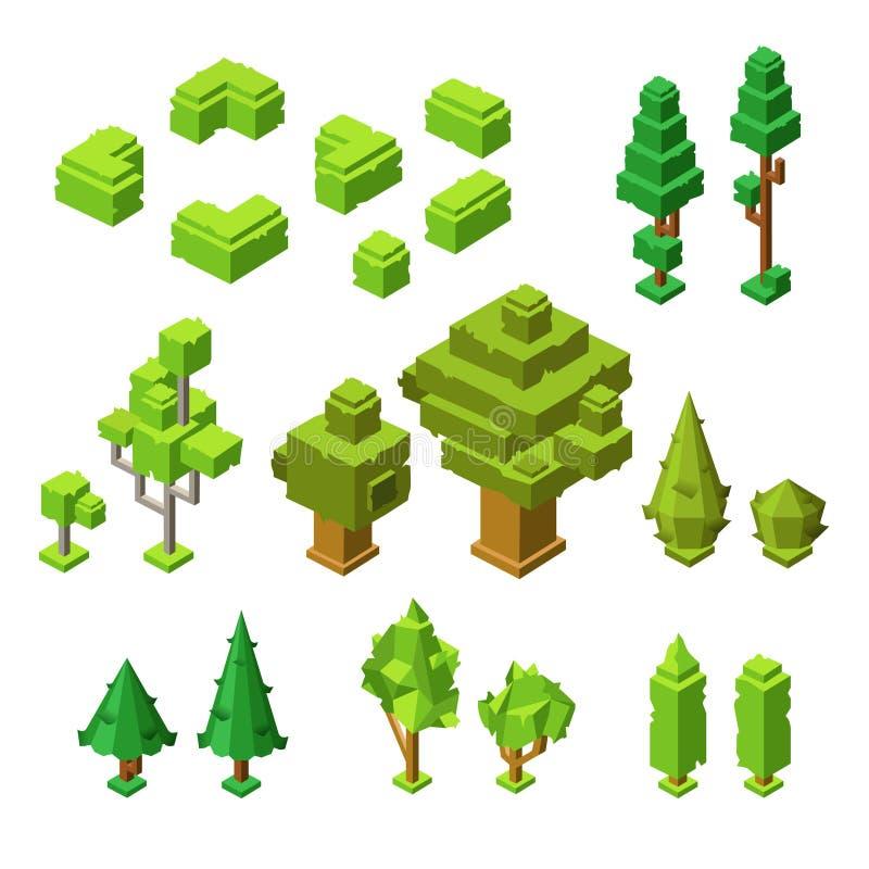 3D等量树导航塑料建筑树的例证并且修筑树篱象 皇族释放例证