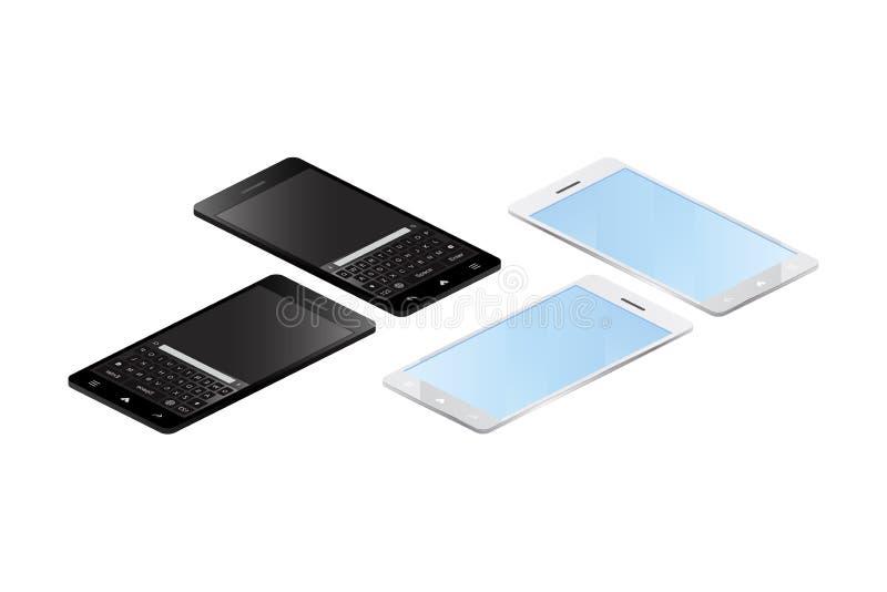 3D等量概念 在白色背景的巧妙的电话 10 eps例证盾向量 库存例证