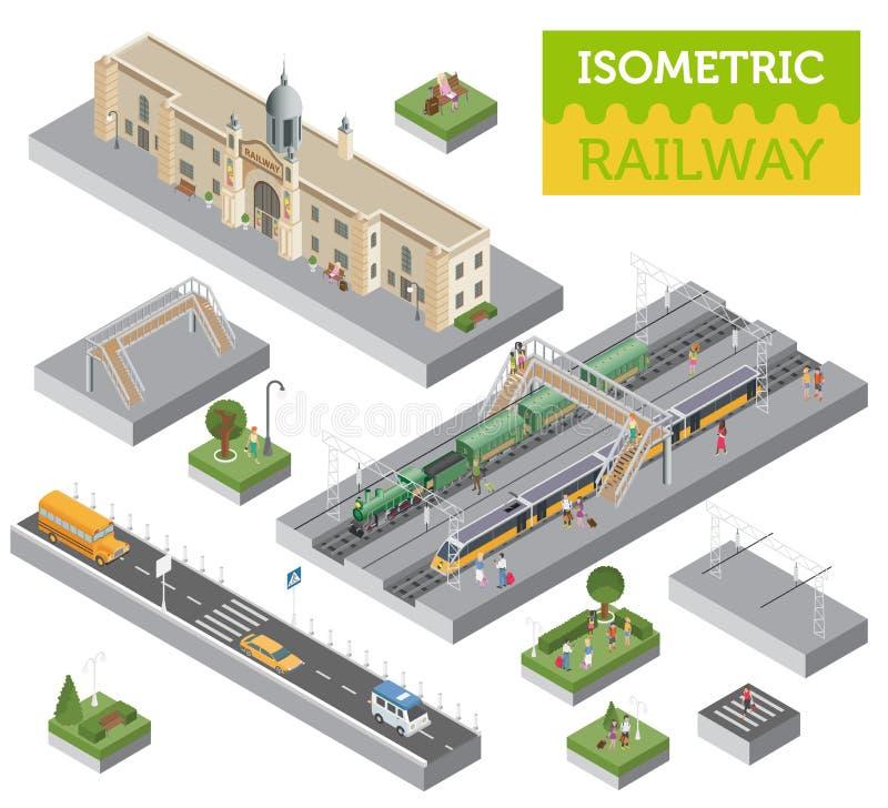 3d等量火车站和城市映射在白色隔绝的建设者元素 建立您自己的铁路infographic收藏 库存例证