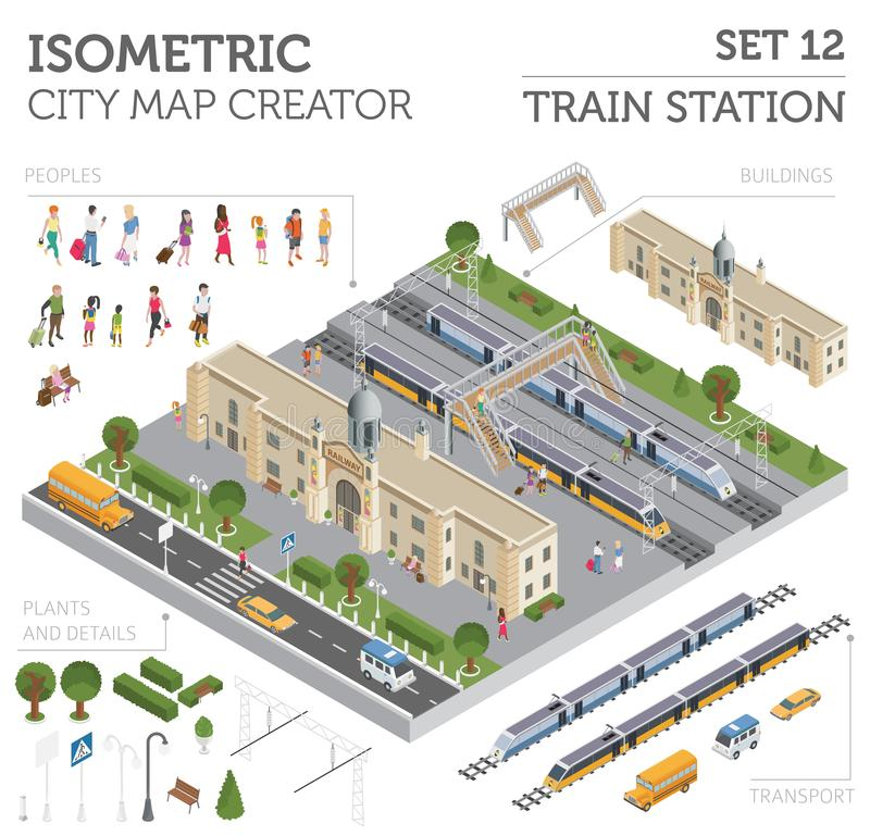 3d等量火车站和城市映射建设者元素iso 皇族释放例证