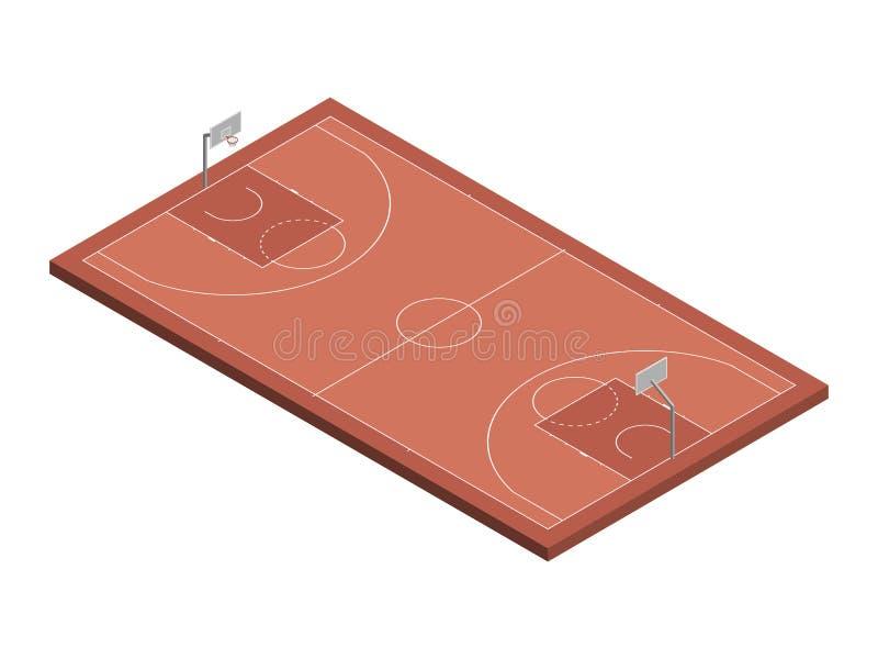 3D等量篮球场,被隔绝的传染媒介例证 皇族释放例证